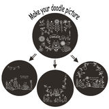 Garatuja ajustada com os animais para o jogo criativo ilustração royalty free