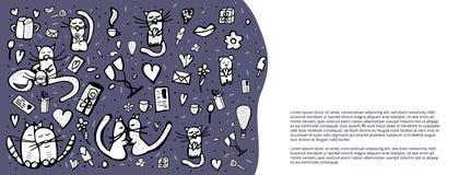 Garatuja ajustada com símbolos bonitos do amor Ilustração do vetor ilustração stock