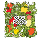 Garatuja ajustada com vegetais e frutos coloridos Fotos de Stock