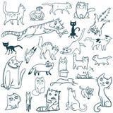 Garatuja ajustada gatos Foto de Stock Royalty Free