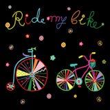 A garatuja bonito colorida bicycles a ilustração do vetor Fotos de Stock