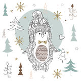 Garatuja bonito da arte do zen do pinguim do Natal Fotografia de Stock Royalty Free