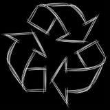 Garatuja bonito dos desenhos animados do sinal Recycle ilustração do vetor