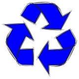 Garatuja bonito dos desenhos animados do sinal Recycle ilustração stock