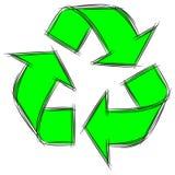 Garatuja bonito dos desenhos animados do sinal Recycle ilustração royalty free