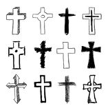 Garatuja Christian Cross Set Imagem de Stock Royalty Free