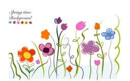 A garatuja colorida do tempo de mola floresce o fundo do design floral da ilustração Foto de Stock