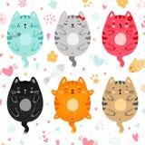 A garatuja coloriu o grupo dos gatos ilustração royalty free
