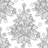 Garatuja da árvore de abeto do zentangle do Feliz Natal Ilustração Stock