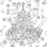 Garatuja da árvore de abeto do zentangle do Feliz Natal Ilustração do Vetor