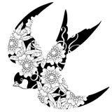 Garatuja da andorinha no fundo branco Ilustração Stock