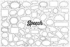 Garatuja da bolha do discurso ajustada com rotulação preta ilustração royalty free
