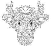 Garatuja da cabeça da vaca no fundo branco Imagem de Stock Royalty Free