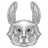 Garatuja da cabeça do coelho com nariz preto Ilustração Stock