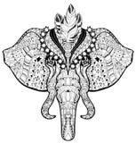 Garatuja da cabeça do elefante do circo no esboço branco Ilustração Stock