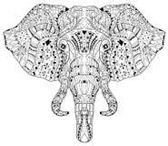 Garatuja da cabeça do elefante no esboço branco do vetor Ilustração do Vetor