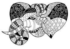Garatuja da cabeça do elefante no esboço branco do vetor Ilustração Royalty Free