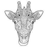 Garatuja da cabeça do girafa Ilustração Stock