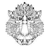 Garatuja da cabeça do macaco de Zentangle Vetor desenhado mão Imagem de Stock Royalty Free
