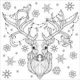 Garatuja da cabeça dos cervos do Natal Ilustração Royalty Free
