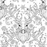 Garatuja da cabeça dos cervos do Natal com ampola Ilustração Royalty Free