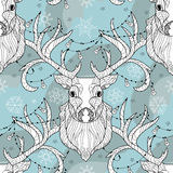 Garatuja da cabeça dos cervos do Natal com ampola Ilustração Stock