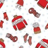 A garatuja da estação do inverno veste o teste padrão sem emenda Entregue a elementos tirados do esboço peúgas, luvas e chapéus m Imagem de Stock Royalty Free