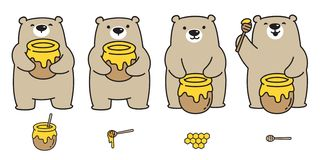 Garatuja da ilustração do personagem de banda desenhada da abelha do mel do logotipo do ícone do urso polar do vetor do urso ilustração royalty free