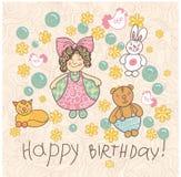 Garatuja da menina da ilustração do vetor do feliz aniversario Foto de Stock Royalty Free