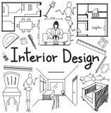 Garatuja da profissão do design de interiores no fundo do Livro Branco Fotos de Stock