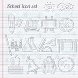 Garatuja de ícones da escola Imagem de Stock