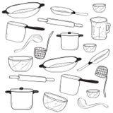 Garatuja de serviço público da cozinha ilustração stock