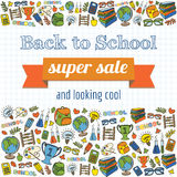 Garatuja de volta ao cartaz super da venda da escola Foto de Stock Royalty Free