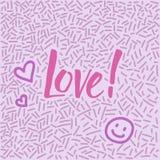 garatuja desenhado à mão da Linha-arte com amor moderno da palavra da caligrafia! Fotografia de Stock