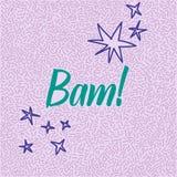 garatuja desenhado à mão da Linha-arte com palavra moderna Bam da caligrafia! Imagens de Stock