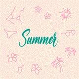 garatuja desenhado à mão da Linha-arte com verão moderno da palavra da caligrafia! Fotos de Stock