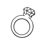 Garatuja do anel com um diamante Fotografia de Stock Royalty Free