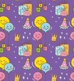 Garatuja do aniversário no fundo do estilo do kawaii ilustração royalty free