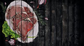 Garatuja do bife da carne ilustração royalty free