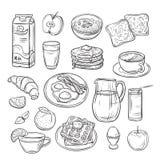 Garatuja do café da manhã Manteiga do ovo do brinde do pão de forma, café da manhã e grupo saudável do vetor do vintage do alimen ilustração do vetor