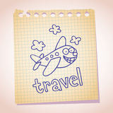 Garatuja do esboço do papel de nota da mascote do avião dos desenhos animados Fotografia de Stock
