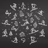 Garatuja do estilo livre da snowboarding ajustada no quadro ilustração stock