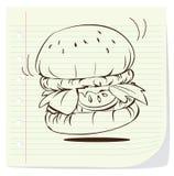 Garatuja do Hamburger ilustração do vetor