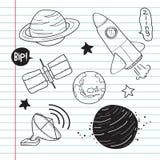 Garatuja do objeto da astronomia Imagem de Stock
