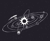 Garatuja do sistema solar Imagens de Stock