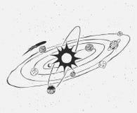 Garatuja do sistema solar ilustração stock