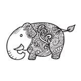 Garatuja do teste padrão do elefante Imagem de Stock Royalty Free