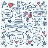 Garatuja do Valentim ajustada tirada no papel do caderno Foto de Stock Royalty Free