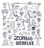 garatuja dos desenhos animados do zombi, ilustração do vetor Fotos de Stock Royalty Free