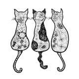 Garatuja dos gatos Imagens de Stock